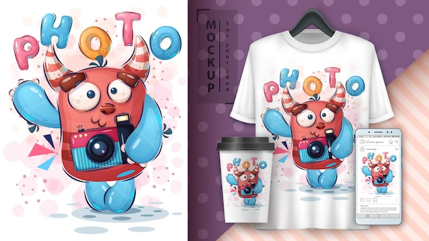 Pôster e merchandising do monstro selfie