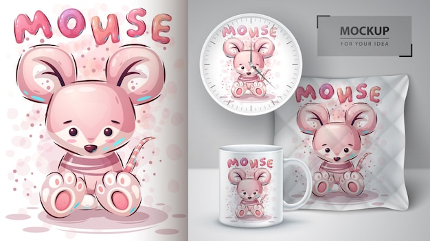 Pôster e merchandising do teddy mouse