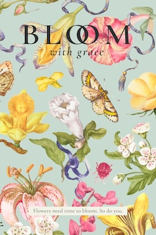 Pôster editável de belo modelo floral
