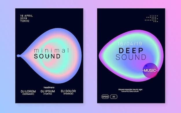 Pôster eletrônico. padrão mínimo para o conceito de convite. techno e modelo de concerto. wave sound party. arte divertida para apresentação. pôster eletrônico preto e turquesa
