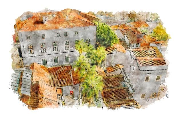 Pôster em aquarela da vista superior da cidade aquarela cityspace cityspace print