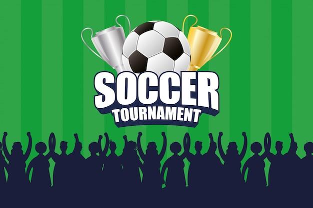 Pôster emblema esporte futebol com balão e troféu