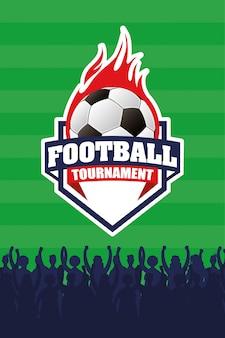 Pôster emblema esporte futebol com balão em chamas