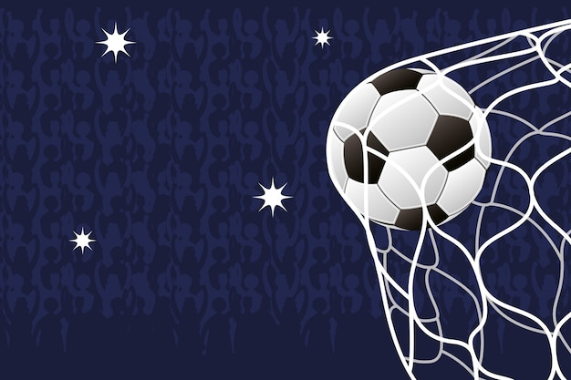 Pôster emblema esporte futebol com balão na rede do gol