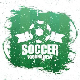 Pôster emblema esporte futebol com balão