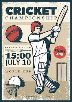 Pôster esportivo do campeonato de críquete vintage