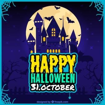 Poster feliz de halloween com um castelo