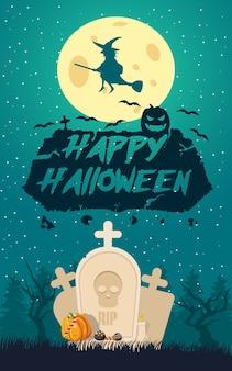 Poster feliz dia das bruxas Vetor grátis