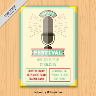 Poster festival vintage com um microfone