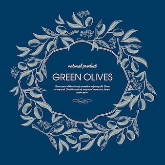 Pôster floral vintage abstrato com texto em moldura elegante e ramos de azeitonas verdes em azul