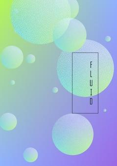 Pôster fluido com formas redondas e textura de pontos de meio-tom