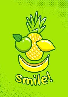 Pôster fofo com frutas e um sorriso de inscrição. ilustração de desenho animado