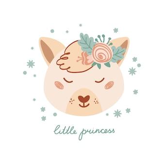Pôster fofo com raposa selvagem de rosto e flores em estilo simples para crianças. letras de princesinha. ilustração com animal em tons pastel. impressão para crianças roupas e têxteis. vetor