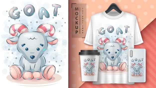 Pôster fofo de cabra de pelúcia e merchandising