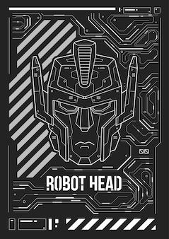 Poster futurista com uma cabeça de robô