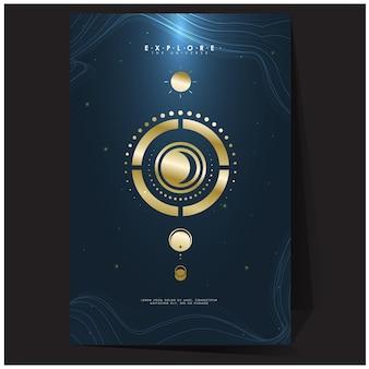 Pôster geométrico em tons de ouro com espaço em malha de gradiente explore os modelos de plano de fundo do universo