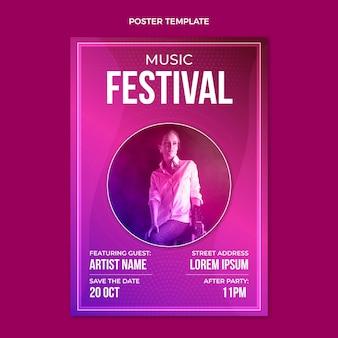 Pôster gradiente colorido do festival de música