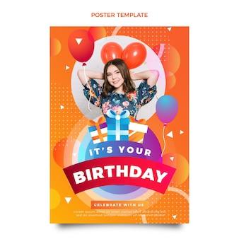 Pôster gradiente de aniversário colorido