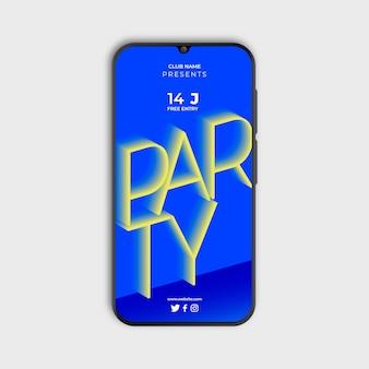 Pôster gradiente para festa no smarthphone