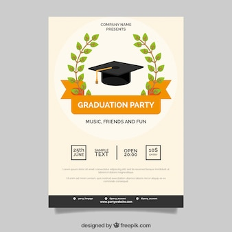 Poster, graduação, partido, laranja, fita
