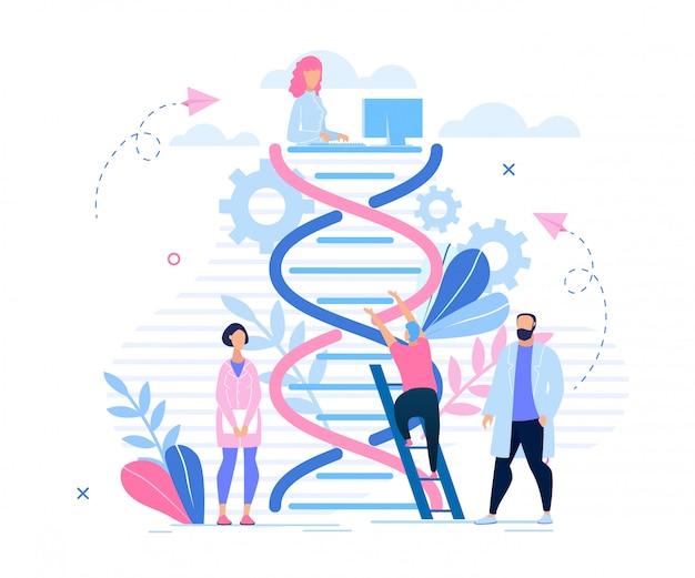 Poster informativo desenhos animados da pesquisa genética. Vetor Premium