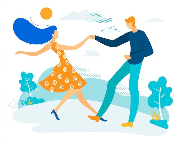 Poster informativo homem e mulher estão dançando.