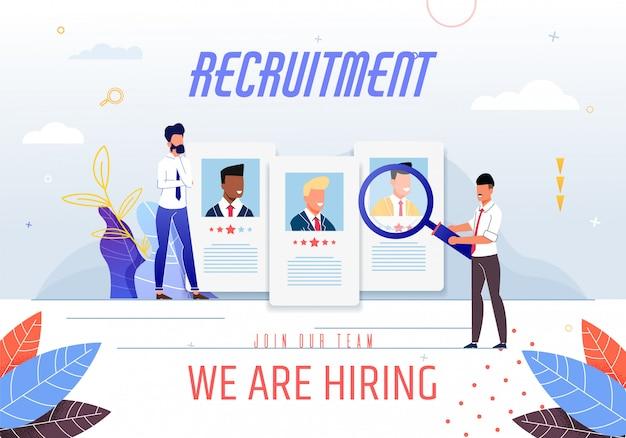 Poster inscrição recrutamento estamos contratando.