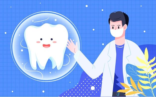 Pôster internacional de escovação do dia do amor para o dia dos dentes saúde bucal limpeza oral pôster Vetor Premium