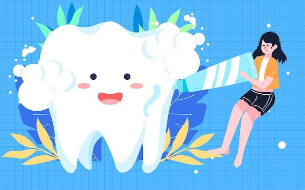 Pôster internacional de escovação do dia do amor para o dia dos dentes saúde bucal limpeza oral pôster