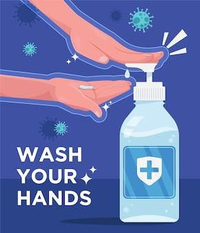 Pôster lave as mãos para se proteger