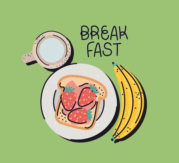 Pôster lindo café da manhã
