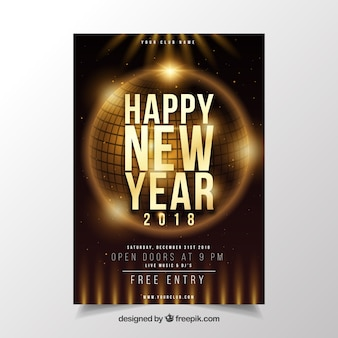 Poster marrom com uma bola de festa dourada