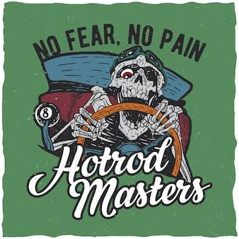 Pôster mestre de hotrod com esqueleto