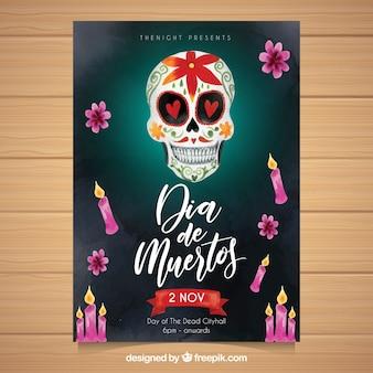 Poster mexicano do crânio com velas de aquarela