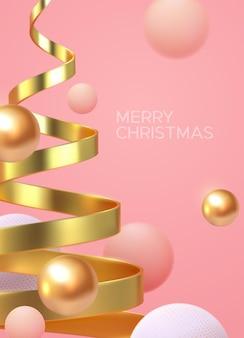 Pôster minimalista de feliz natal em forma de hélice de árvore de natal dourada e esferas fluidas