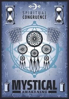 Pôster místico colorido vintage com joias espirituais, cartas de tarô, ampulheta, letras rúnicas, velas e pentagrama