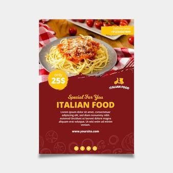 Pôster modelo de comida italiana