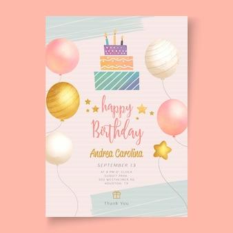 Pôster modelo de festa de aniversário