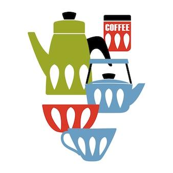 Poster moderno da cozinha do meio século.