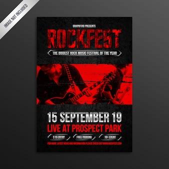 Poster moderno do festival de música rock de grunge