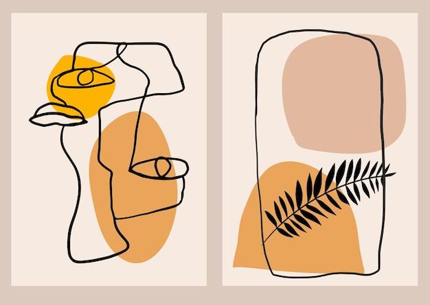 Pôster moderno e minimalista com formas abstratas de rosto e folhas tropicais. colagem de arte em parede