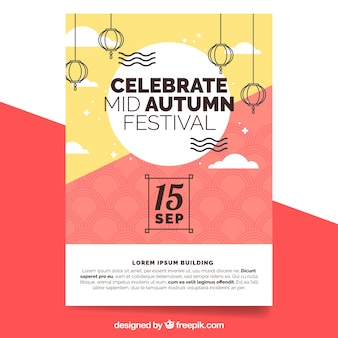 Poster moderno para o festival do meio do outono