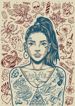 Pôster monocromático de tatuagens vintage de uma garota chicana bonita com rabo de cavalo e várias tatuagens