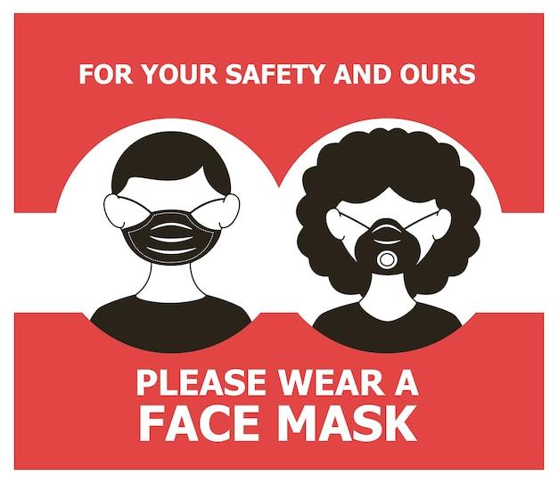 Pôster obrigatório de máscara com casal usando máscaras design de ilustração vetorial