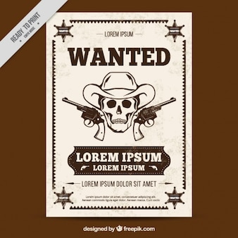 Poster ocidental com esboço do crânio