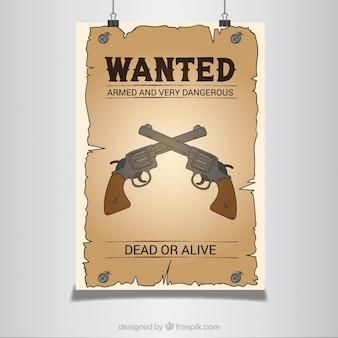 Poster ocidental com pistolas