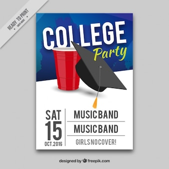 Poster para a festa de faculdade com música ao vivo