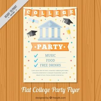Poster para uma festa de faculdade, estilo plano