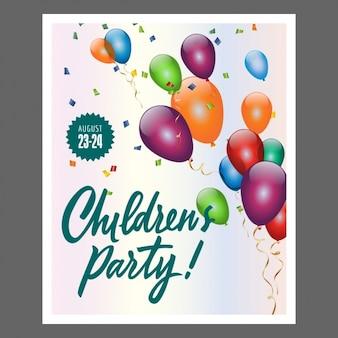 Poster partido das crianças com balões coloridos