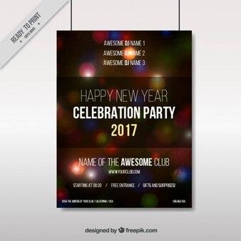 Poster partido de ano novo fora de foco de luzes coloridas